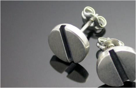 Sterling Silver Stud with Flat Screw Design Earrings