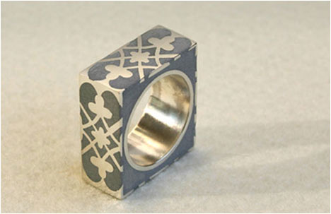 Silver & Concrete Square Ring