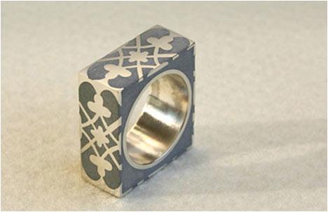 Silver & Concrete Square Ring