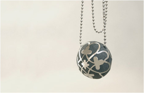Modern Concrete & Silver Paraline Ball Necklace