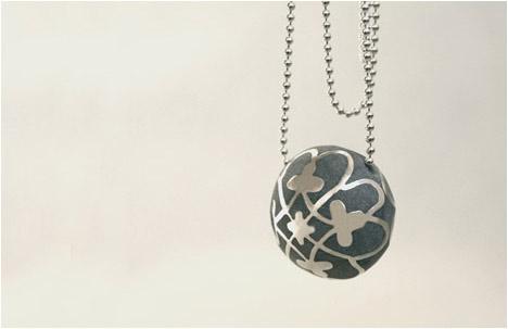 Modern Concrete & Silver Paraline Ball Necklace