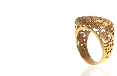 24K Gold Plated Lace Rectangle Shaped Filigree Ring