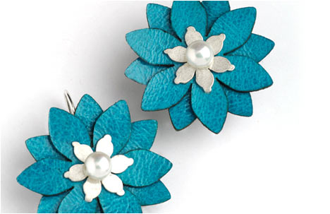 Turquoise Leather Sterling Silver Flowers Earrings with Pearl