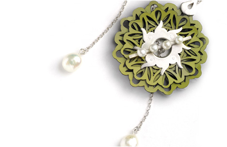 Green Leather Flower Necklace with Silver Pearl Flower