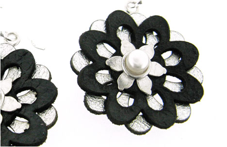 Black and Silver Leather Flower Drop Earrings with Pearl
