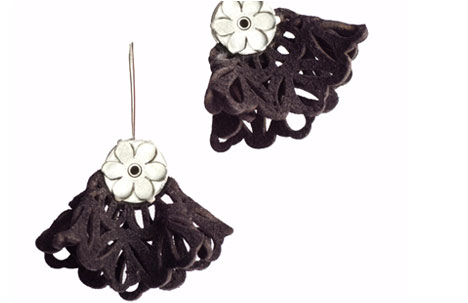 Sterling Silver and Fleece Skirt Drop Earrings