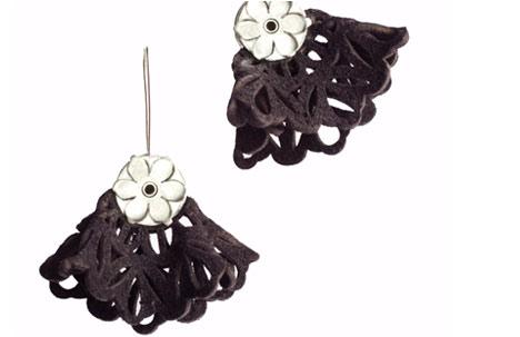 Sterling Silver and Fleece Skirt Drop Earrings