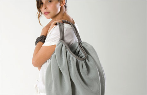 Jellyfish Grey Fabric & Leather Handbag