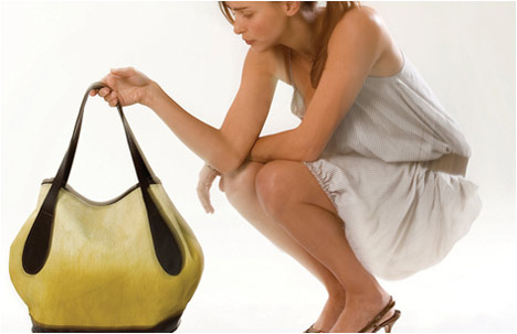 Pear Shaped Everyday Fabric & Leather Beige Handbag