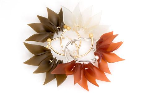urban flower earrings | brass, 24k gold, vermeil, silicone