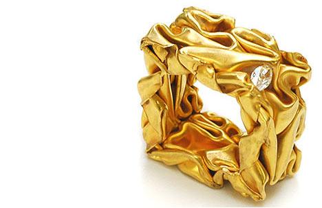 Crashed Ring | 22k gold, marquise diamond