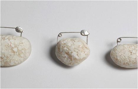 Pebbles | Pins | Silver, Epoxy, Egg shells