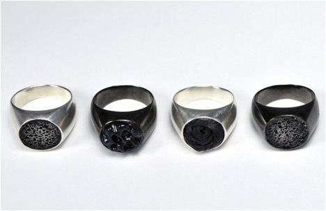 Round Rings | Silver, Gun Metal Plated Bronze, Hair, Wax, Rubber, Pumice