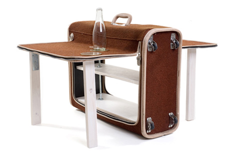 Picnic Suitcase | old folding suitcase, plywood, metal joints