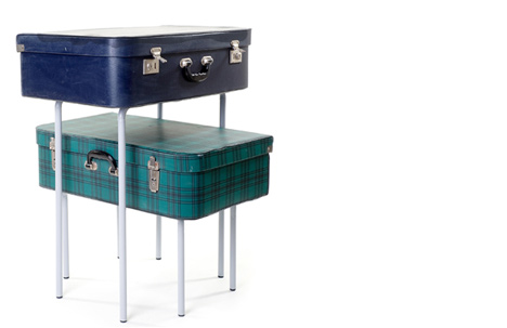 Suitcase Table | old suitcase, plywood, metal legs