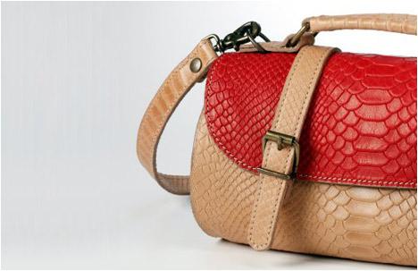 Chika Bag   Red.Natural Anaconda Print   Limited Edition
