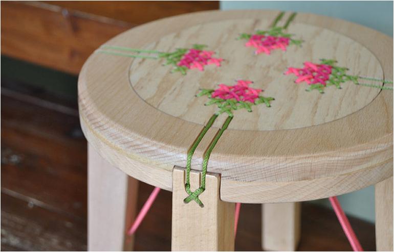Danielle Aiber's Embroidered furniture. // via: Design Break