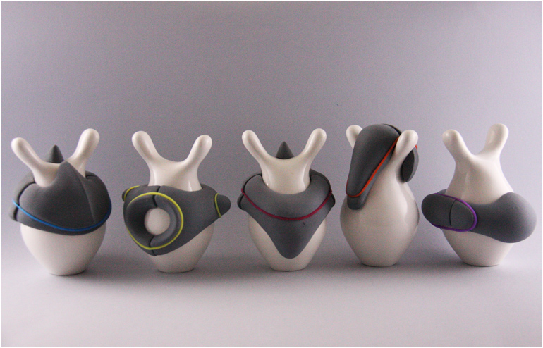 Bobby. Ruchoma Rubin's lovable ceramic creature. Ruchoma, developed a seemingly amorphous forms while attempting to create variations, that will allow the viewer to partake in this unspoken game of association. // via: Design Break