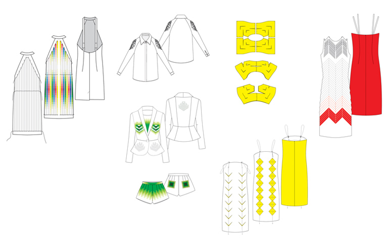 Fake Reality. Liat Brandel Gilon's graduate collection. Optical illusions, pixelization, laser-cuts, pop-ups, hidden folds and patterns on one hand and vivid colors on a white surface on the other. // via