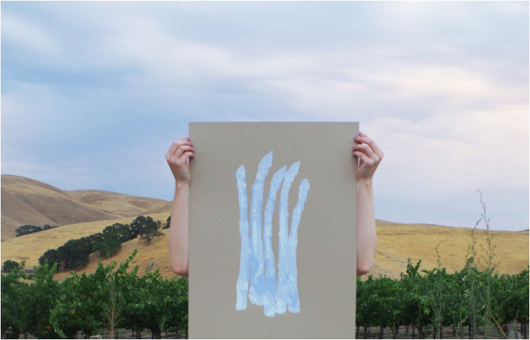 Jen Kindell's silk screen seasonal posters of fruit and vegetables that are grown in California. // via: Design Break