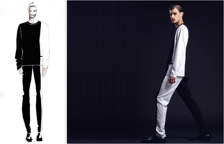 Black White & Pink. Minimal yet bold collection by the menswear designer, Eliran Nargassi. // via: Design Break