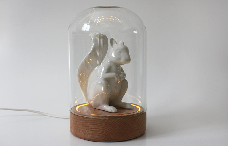 Celebrating Manual Crafts and White Squirrels. Norman. Meirav Barzilay's adorable lamp. // via: Design Break