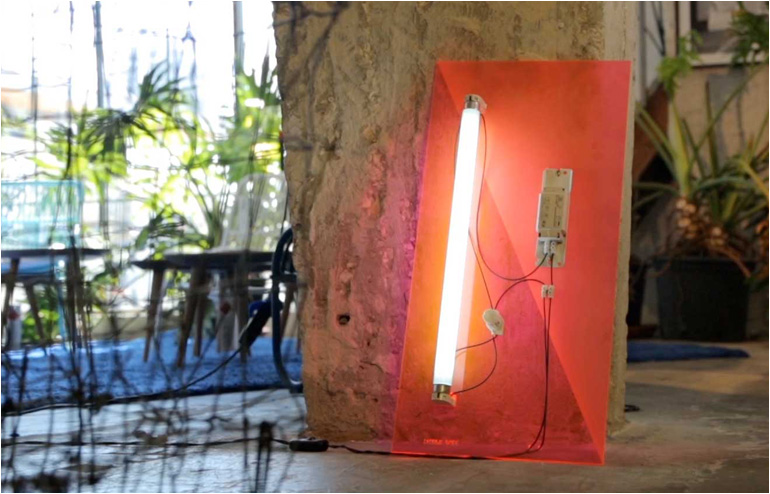 Naama Hofmanand her003.5. Naama offers an homage to the fluorescent lamp and the use of outdoor lighting when applied indoors.// via: Design Break