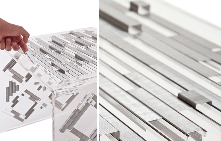 Nilly Mozer's 100K stool. A stool made out of staples. // via: Design Break