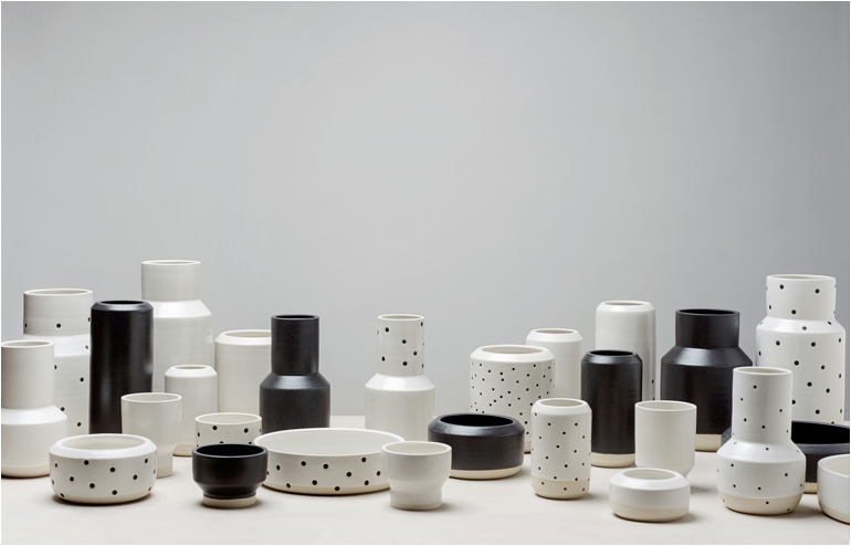 Black and White With a Dash of Dots. Bwd Stoneware Collection by mpgmb. // via: Design Break