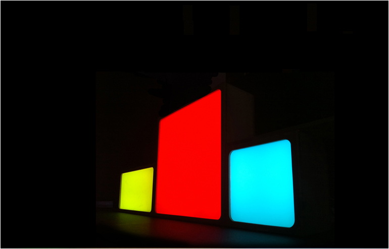 Romy Randev's Looma. Looma is a mix of colorful glass, bamboo and LED lights. // via: Design Break
