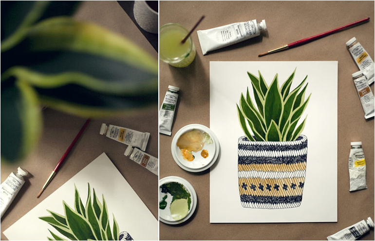 Amanda Wright's (aka Wit & Whistle) House Plant Portraits. // via: Design Break