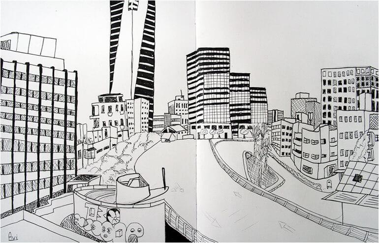 Urban Sketching in Tel Aviv. // An illustration by Floyd Cohen. // via: Design Break