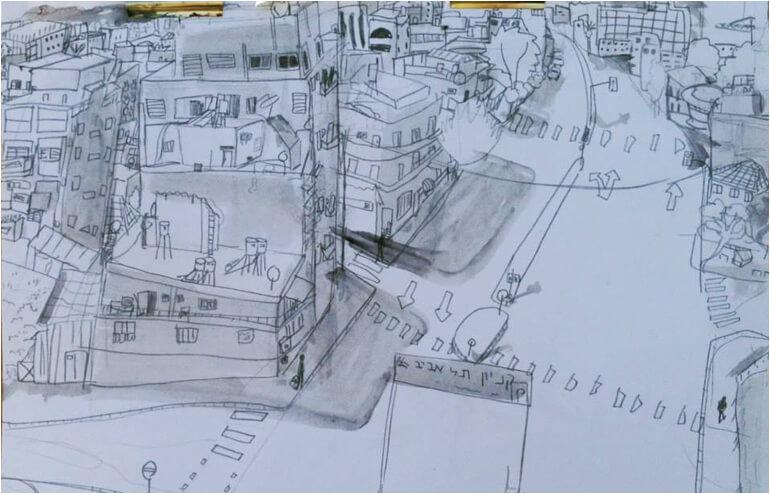 Urban Sketching in Tel Aviv. // An illustration by Ester P Pakovich. // via: Design Break