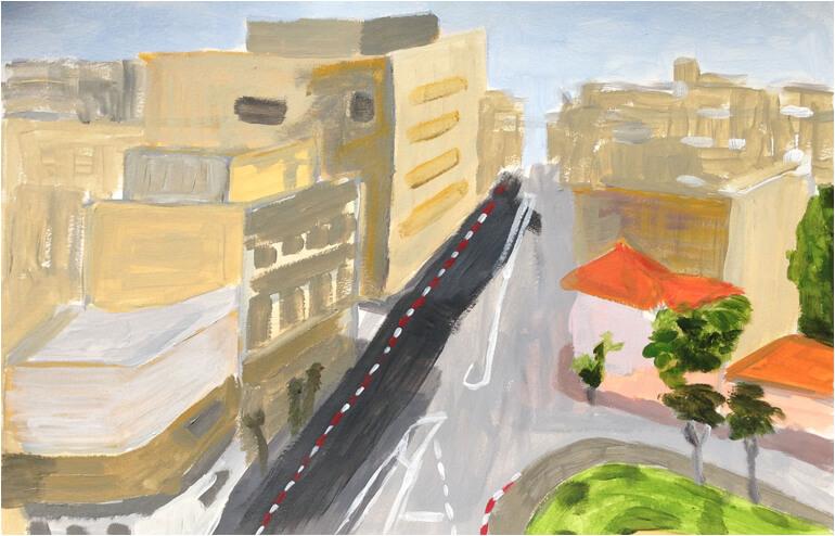 Urban Sketching in Tel Aviv. // An illustration by Yulia Daniel. // via: Design Break