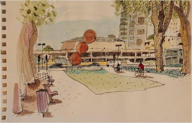 Urban Sketching in Tel Aviv. // An illustration by Nathan Halpern // via: Design Break