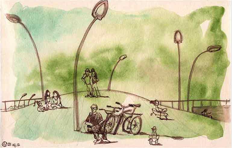 Urban Sketching in Tel Aviv. // An illustration by Aurore Vigne // via: Design Break