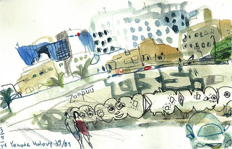 Urban Sketching in Tel Aviv. // An illustration by Marina Grechanik // via: Design Break