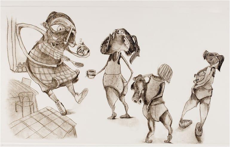 Wizo Design Academy and It's Big Boys illustrated exhibition. An illustration by Dana Shamir // via: Design Break