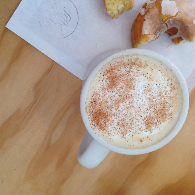 Morning! Woke up with a huge craving for a sweet @dynamodonuts and @fiftyfiftysf's most handsome chai latte. // #MySanFranciscoBreak