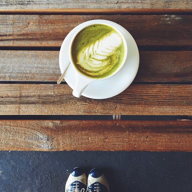 Drinking a Matcha Green Tea Latte for the first time since I've visited Japan and it tastes sooooo good. Also, I might have made @fluxi drink her first Green Tea Latte. // #MySanFranciscoBreak #MyShoeBreak