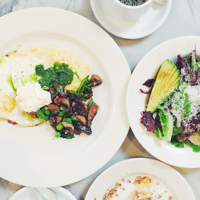 Fried Eggs. Crispy Polenta. Market Lettuces. Coffee Cake. Drip Coffee. Latte. @talamla and her sweet Mr. And of course, My very own sweet Mr. Life can't get any better than this. // #MySanFranciscoBreak