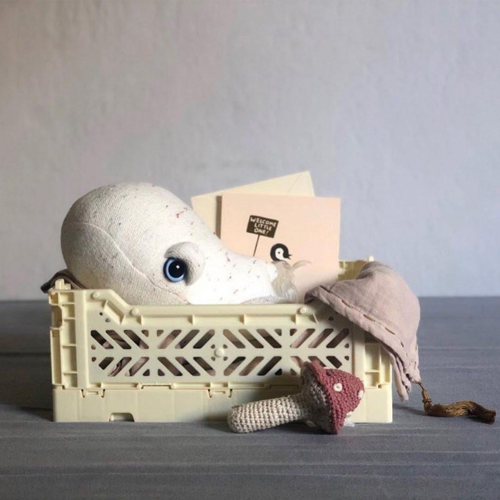 BigStuffed mini albino whale plush