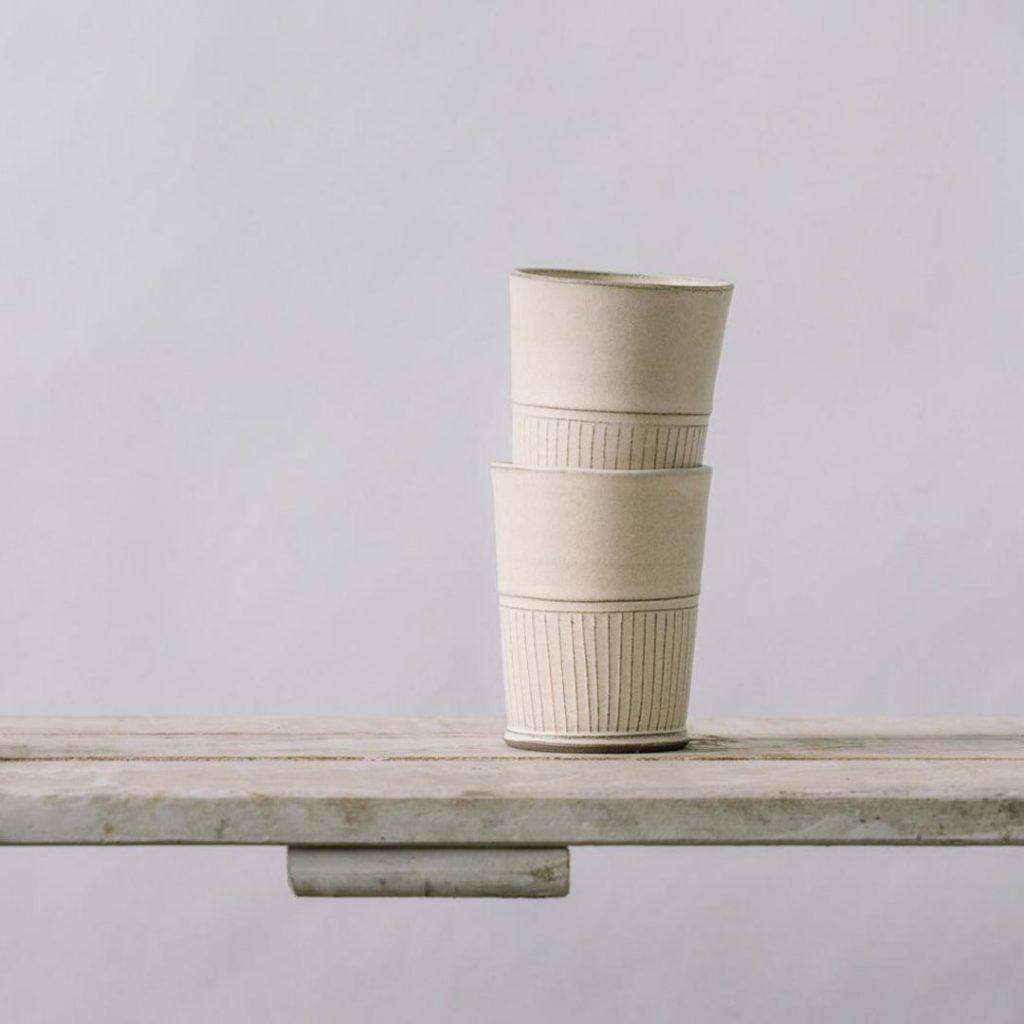 Free Folding rustic ceramic tumblers