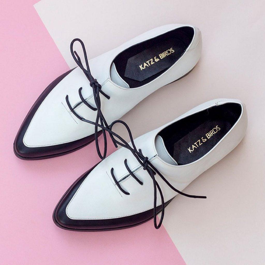 Katz and Birds black and white saddle shoes