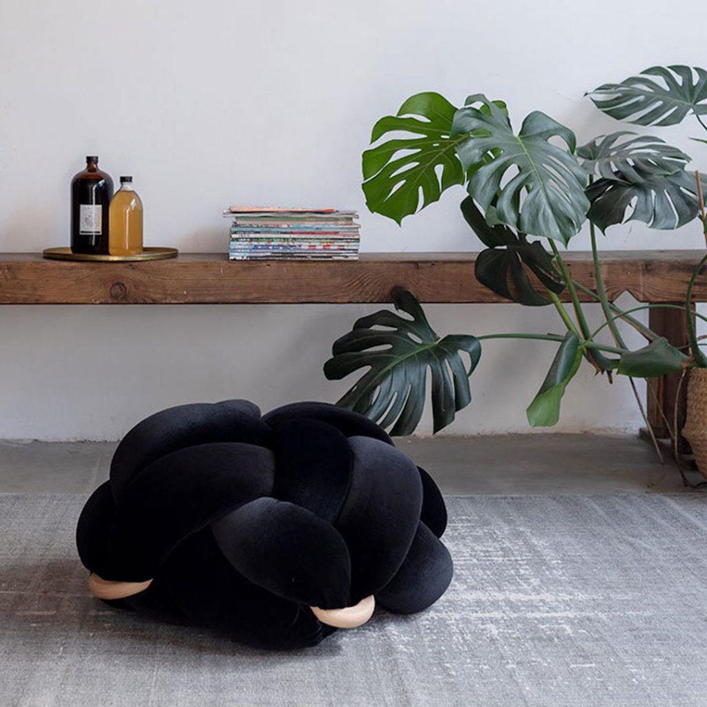 KNOTSstudio knot floor cushion in black velvet