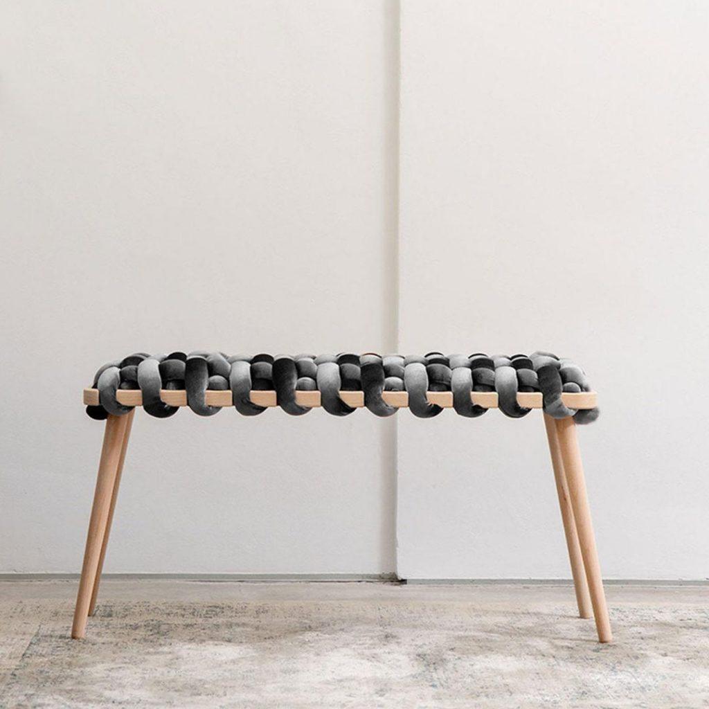 KNOTSstudio woven bench in gray velvet
