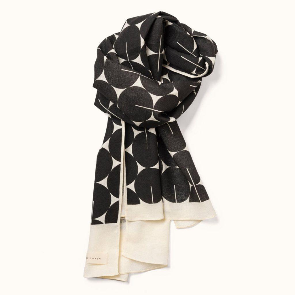 Lee Coren screen printed black cotton gauze scarf