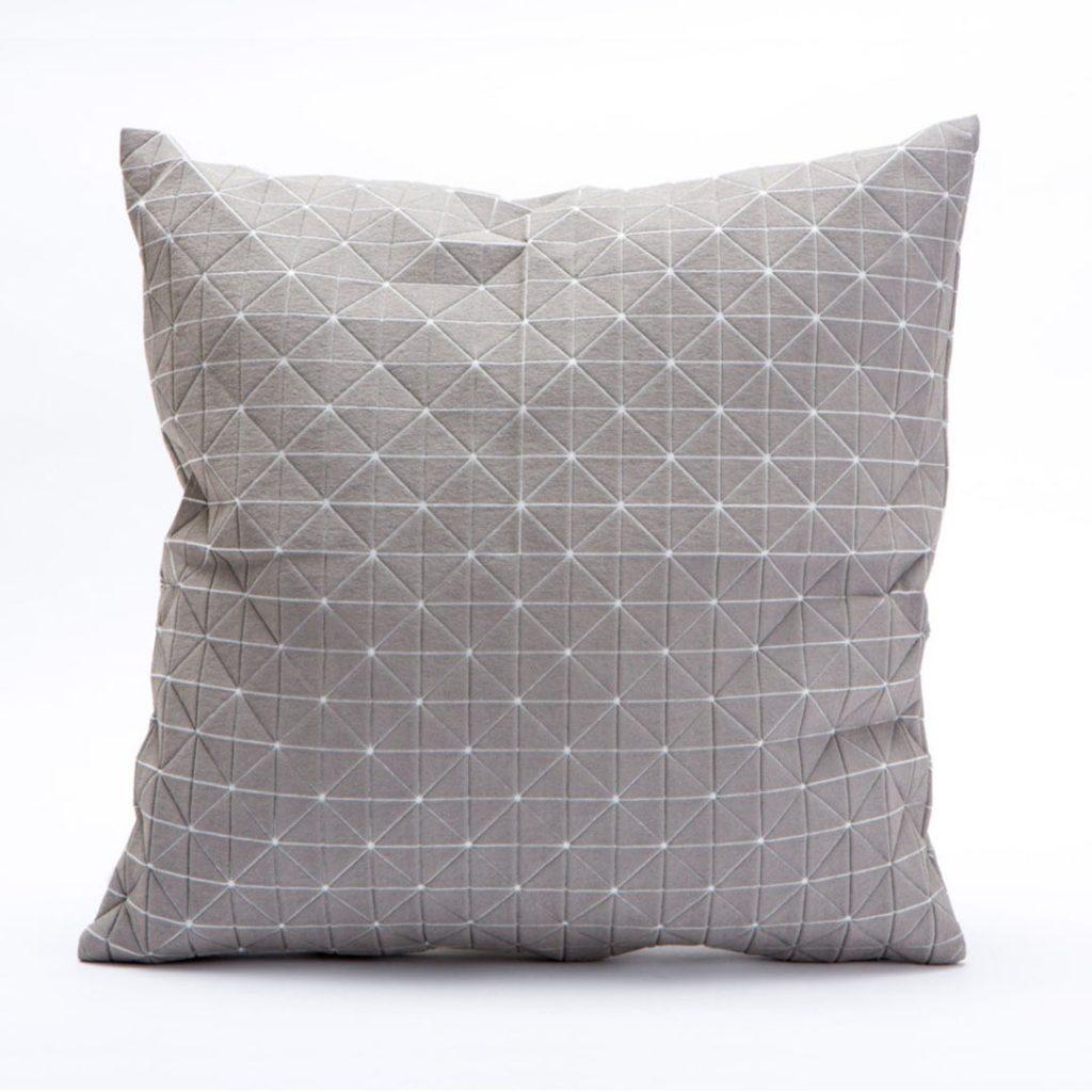 Mika Barr light grey origami designer pillow