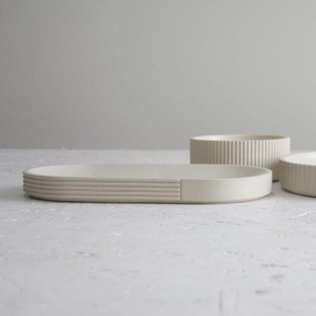 One and Many white ceramic centerpiece set