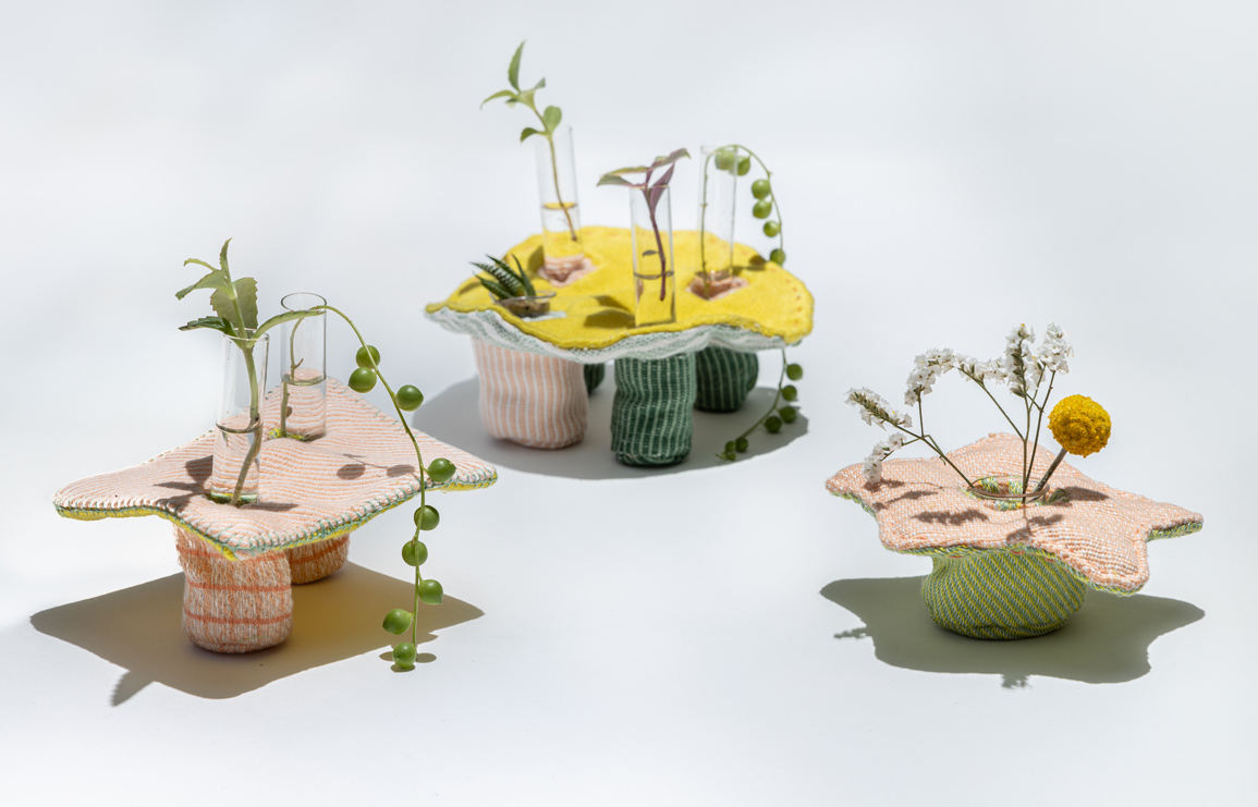 playful nest. meytar hacham's textile planters. // via: design break blog